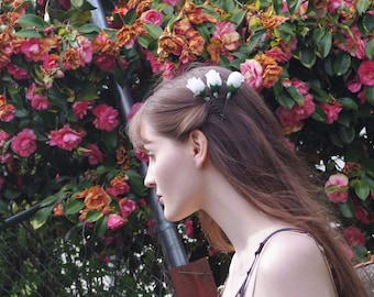 Flower Crown Bobby Pins   Pink Roses   White Roses   Rose Headpiece