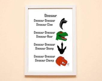 Dinosaur Rhyming Print, Play Room Decor, Dinosaur Decor, Dinosaur Art, A4 Print, Dinosaur Children's Bedroom, Dinosaur Nursery Decor, T Rex