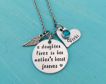 Daughter Memorial Necklace-Daughter Remembrance Gift-Mother Memorial Gift-In Memory of Daughter-Hand stamped jewelry-Personalized Jewelry