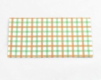 TARTAN PAPER ENVELOPES (Set of 4) - Plaid Tartan Stripe Envelopes  (17.4cm x 8.8cm)