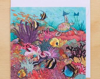 Card - Great Barrier Reef- 14cm x 14cm - blank