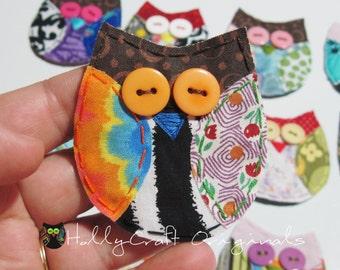 Owl Magnet, Owl Applique Magnet, Scrappy Owl Magnet, Owl,Owl Embellishment, Scrap Fabric Owl Magnet,READY to SHIP