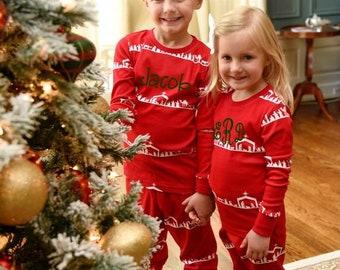 Kid's Nativity Striped Pajamas, Personalized Christmas Pajamas, PJs, Baby Gown, Matching Doll Pajamas - PRE ORDER 1