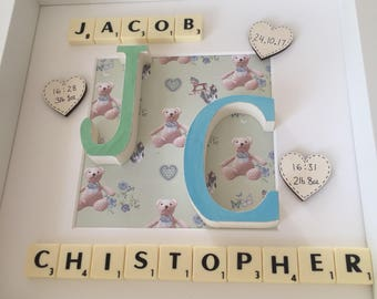 Twin boys, twin girls, twin frame, gift, personalised, scrabble, wooden letter