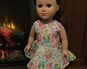 """18"""" American Girl White Owl Doll Dress~Our Generation Doll Dress~American Girl Doll Dress~18in Doll Dress"""