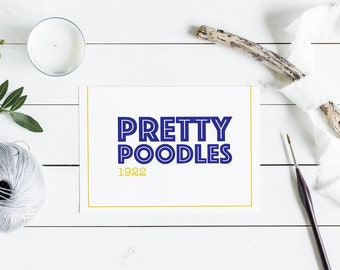 Pretty Poodles 1922 Note Card Set, Sigma Gamma Rho Sorority-inspired Blue and Gold (Yellow) A2 Folded Cards