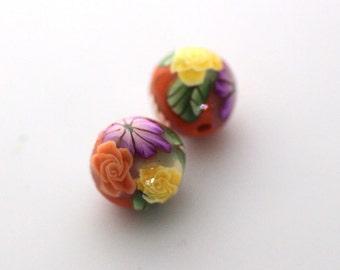Polymer Clay Beads, Bead Pair, Summer Orange Beads