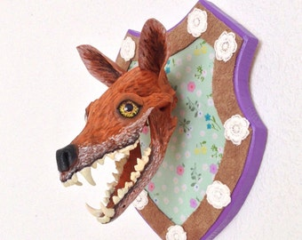 20% off sale - Laughing fox skull hand painted on wooden shield
