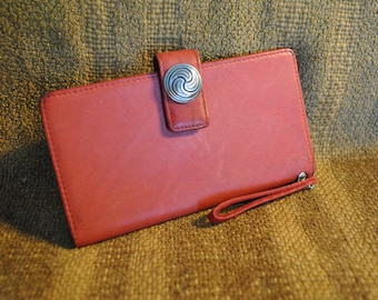 Rolfs Checkbook Red Genuine Leather Wallet reimagined with silver Triskelion Concho