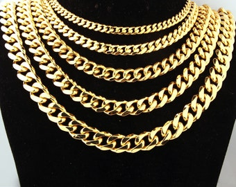 """4/8/10/13/15mm Stainless Steel Gold Curb Cuban Link Chain Cool Men's Necklace/Bracelet Bangle Miami Jewelry 8-40"""" Thick Heavy Customized"""