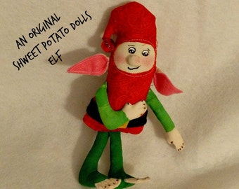 Handmade Original Shweet Potato Dolls Elf Cloth Art Doll Christmas Ornament Ornie