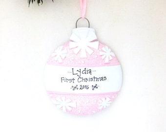 Pink Christmas Ball Personalized Christmas Ornament / Baby's First Christmas / Baby Ornament / Baby Girl