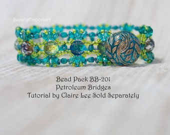 Bead Pack BB-201 Petroleum Bridges Bracelet, Tutorial by Claire Lee Sold Separately, BB201 Petroleum Bridges Bracelet Bead Pack