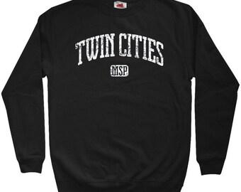 Twin Cities Sweatshirt - MSP Minneapolis St. Paul - Men S M L XL 2x 3x - Crewneck Minnesota Shirt - 4 Colors