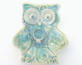 Owl Trinket Dish Ring Bowl Jewelry Holder Change Dish Watercolor  Blue Green