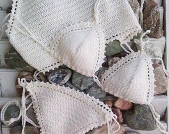 crochet bikini set Tathiana 3pcs - Crochet Vintage bikini Crochet Boho bikini Hippie bikini Triangle bikini Halter top