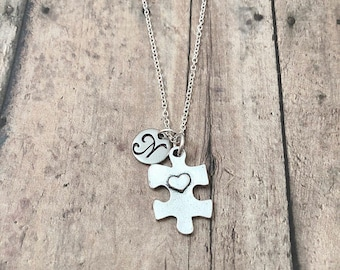 Puzzle piece initial necklace - puzzle jewelry, Autism necklace, Autism awareness jewelry, silver puzzle piece pendant, Autism jewelry