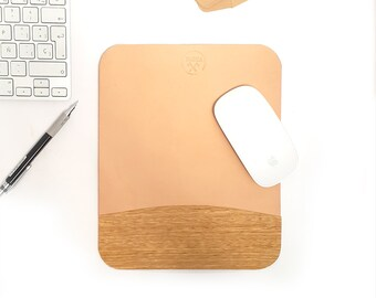 mouse pad, leather and  Cerejeira  wood from Patagonia,  mousepad natural leather, mens gift, leather mouse mat, imac, macbook pro air