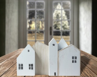 Superieur White Wooden Houses, Farmhouse Decor, Christmas Village, Small Wood House,  Rustic Home