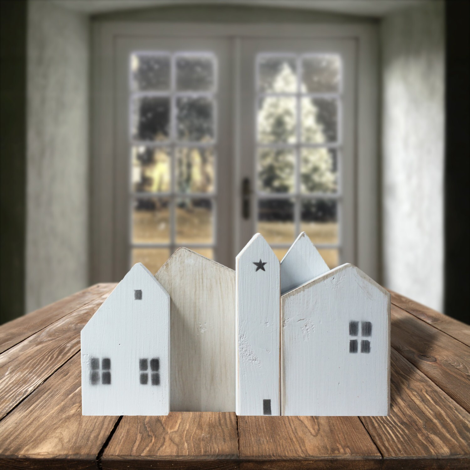 White Wooden Houses Farmhouse Decor Christmas Village Small