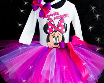 Pink & purple minnie First 1st Birthday Minnie mouse tutu outfit Birthday Tutu Set baby tutu Minnie mouse 1 from Europe