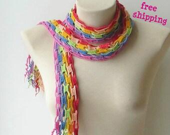Rainbow scarf, Skinny scarf, Lgbt gay pride, Neck scarf, Striped scarf, Scarf women, Multicolored scarf, Cotton crochet scarf, Bright scarf.