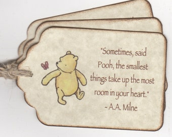 20 Winnie The Pooh Baby Shower Favor Tags, Baby Christening Birthday Party Escort Cards Place Cards New Baby  Tags - Vintage Style