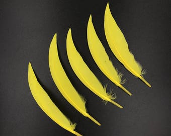 Real Goose Feathers -For Sale Yellow Dyeing Natural Bulk Feathers,Hat Feathers ,Wedding Feathers,Feather Mount,Headpiece Feathers 4-6 Inches