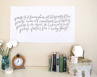 Praise God from Whom All Blessings Flow, Doxology Wall Hanging, Hymn Wall Art, Christian Home Decor, Mantle Decor, Living Room Wall Art