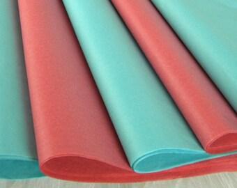 Coral and Aqua Tissue Paper | Coral Pink & Aquamarine | 48 Sheets | Craft Supplies  DIY Poms | Paper Crafts | Tissue Sheets | Beach Wedding