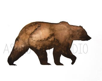 Printable Watercolor Bear, High Resolution, Print File, Grizzly Bear