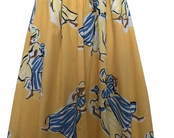 "Gerard Darel Vintage Novelty Print Skirt Cotton 1980s ""African Ladies"""