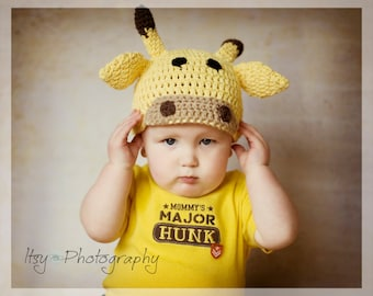 Giraffe Crocheted Cotton Hat - Great Photo Prop