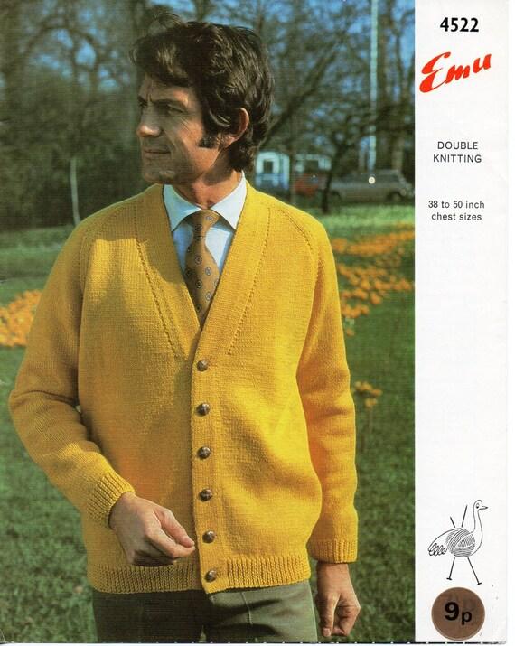 Mens Knitting Pattern Mens Cardigan Mens Raglan Cardigan Mens V Neck