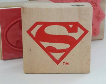 Superman Wood Mounted Rubber Stamp Scrapbooking & Paper Craft Supplies