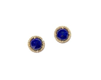 Yellow Gold Pave Diamond Lapis Lazuli Earrings/Studs