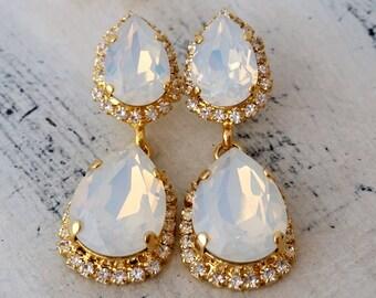 White opal earrings,white opal Chandelier earrings,White opal Bridal earrings,Bridesmaids gift,Opal jewlery,Dangle earrings,Opal earrings