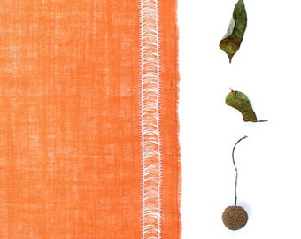 Orange Burlap Table Runner - Pulled Thread Orange Table Runner Adorned with Decorative Stitching - Indoor/Outdoor Decor