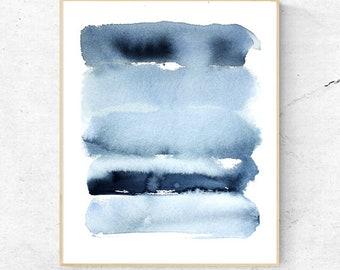 Abstract Indigo Blue Watercolour Print, Contemporary Modern Minimalist Watercolor Wall Art, Ink Water mark Printable Digital Poster Download