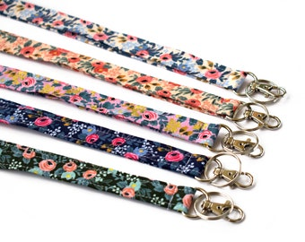 Floral Lanyard, Girly Lanyard, Cute ID Holder, Stocking Stuffer, Girl Lanyard, Boho Gift, Floral Fabric