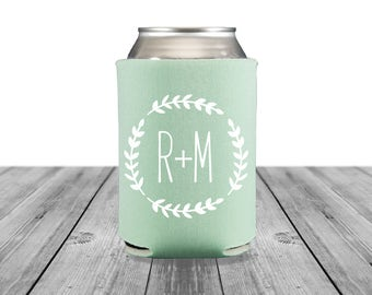 Neoprene Can Coolers, Personalized Coolies, Wedding Coolies, Engagement Party, Custom Hugger Wedding Can Coolers, Wedding Logo, Monogram