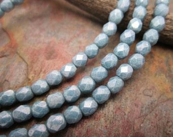 Blue Denim Fire Polished 4mm Czech Glass Beads
