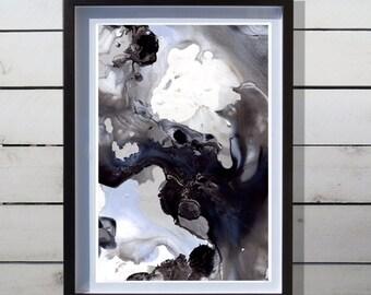 Abstract Watercolor Art Print - Original Design - Fine Art Custom Painting - Midnight Bloom B - 13x19 / 17x22 / 20x30