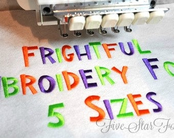 Frightful Embroidery Font - 5 Sizes  Perfect for Halloween