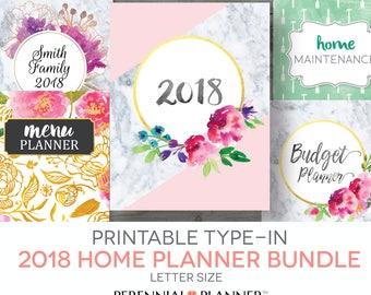 Printable Planner | 2018 Home Management Binder | Editable, Letter Size, Calendar, Menu Planning, Budgeting, Meal Planning, Home Maintenance