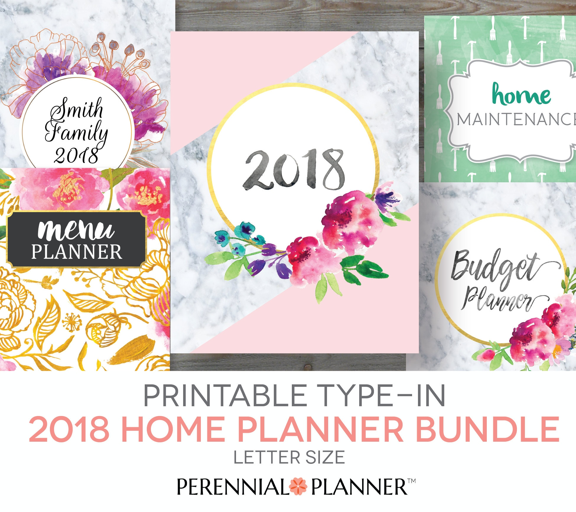 Printable Planner 2018 Home Management Binder Editable