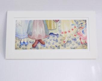 ORGUEIL et préjugés de fée pieds en édition limitée signée impression par halthegal lizzie bennet sœurs impression jane art de Jane austen