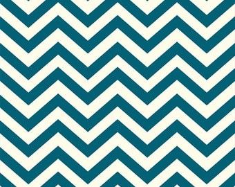 Organic Teal Chevron Fabric - Birch Mod Basics 1 Yard