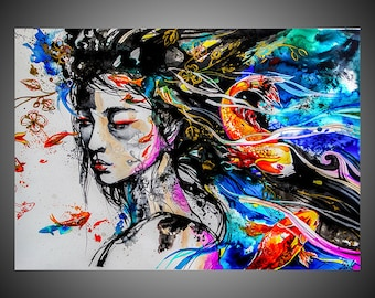 Waves of reality watercolor painting, Geisha painting, Koi painting, Koi fish painting, Geisha girl, Watercolor decor, Japanese inspired