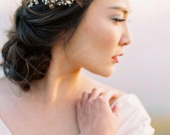 Bridal Headpiece, Bridal Hair Comb, Wedding Headpiece, Crystal Headpiece, Pearl Headpiece, Beaded Headpiece, Gold Hair Comb - Style 414